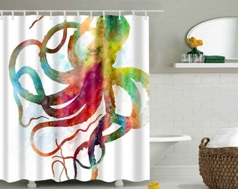 Octopus Shower Curtain Colorful Tentacles Watercolor Waterproof Polyester Fabric Bath With 12 Hooks