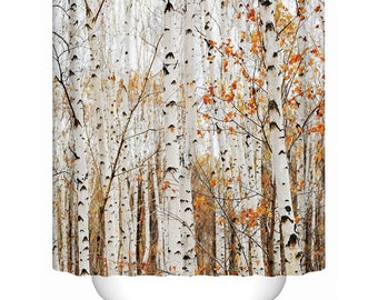 Birch Trees Shower Curtain Tree Forest Curtains Eco Friendly Bath Decor