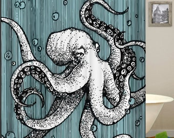 Octopus Shower Curtain Tentacles Ocean Waterproof Fabric Curtains