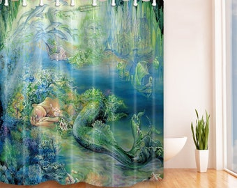Mermaid Shower Curtain Waterproof Curtains With 12 Hooks