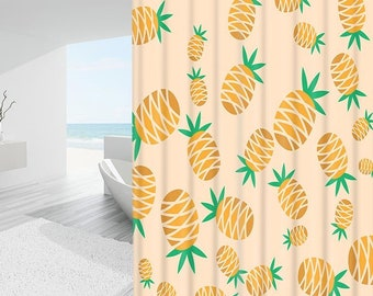 Tropical Pineapple Shower Curtain Waterproof Fabric Polyester Botanical Print For Bathroom Decor