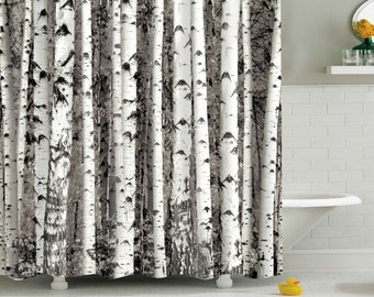 Birch Tree Shower Curtain Pattern Curtains Woods Forest Polyester Waterproof Bathroom