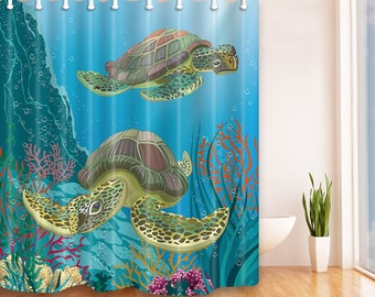 Sea Turtle Shower Curtain Waterproof Polyester Curtains Bathroom Decor 72 X Inches