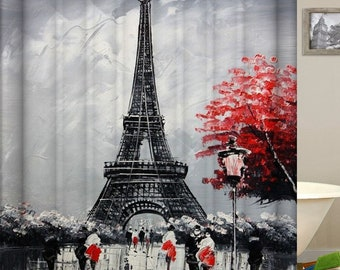 Paris Themed Shower Curtain Eiffel Tower Bathroom Decor Polyester Fabric Waterproof Curtains Black Grey Red