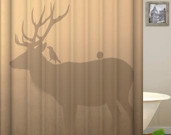 Hirsch Dusche Vorhang Elk Vorhange Wasserdichten Stoff Bad