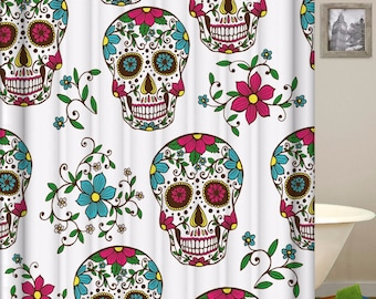 Sugar Skull Shower Curtain Skulls Polyester Waterproof Curtains