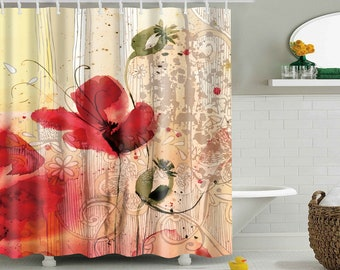 Poppy Shower Curtain Curtains Waterproof Polyester Fabric Poppies Bathroom Decor