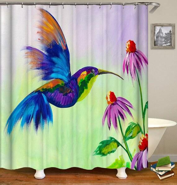Hummingbird Shower Curtain With Hooks Bird Waterproof Fabric