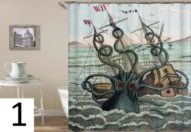 Octopus And Ship Shower Curtain