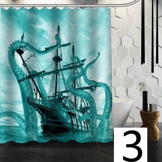 Octopus Shower Curtain Kraken And Ship Bath Eco