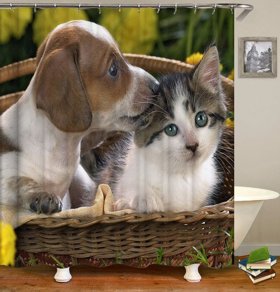 Puppy And Cat Shower Curtain Kitty Dog 3d Print Bath