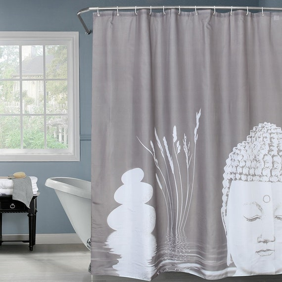 Buddha Shower Curtain Gray Zen Bath Curtains Bathroom