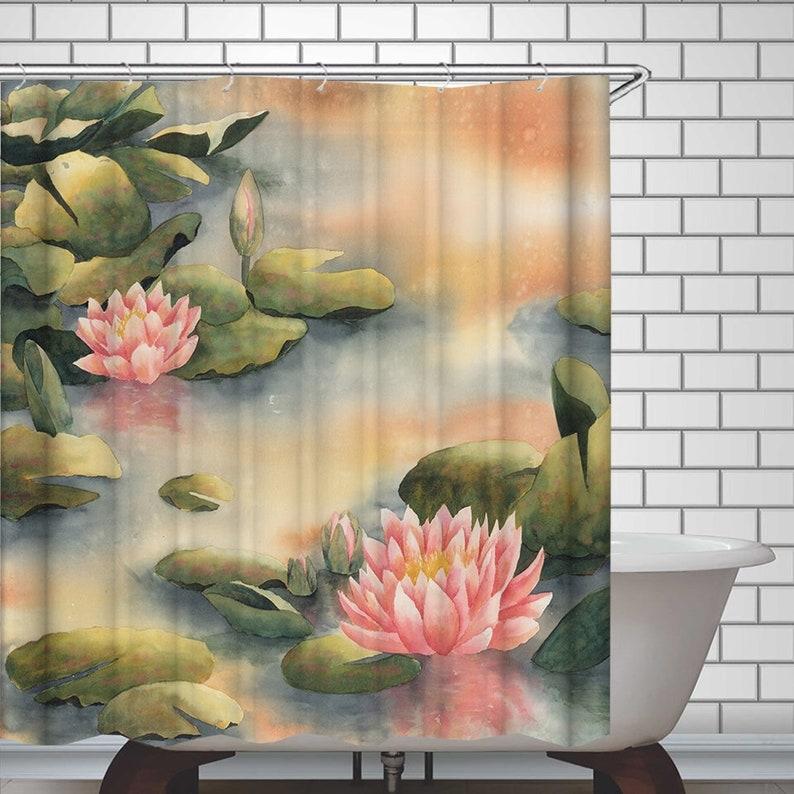 Lotus Shower Curtain Lotus Flowers Shower Curtains Waterproof Etsy