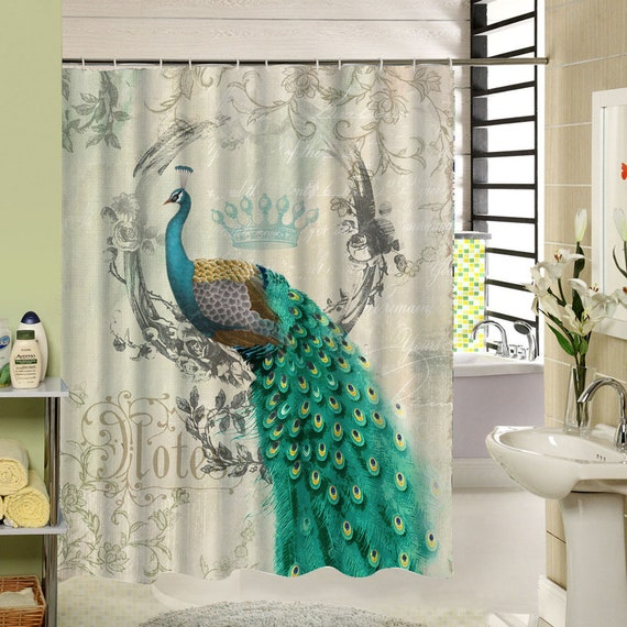 Peacock Shower Curtain Retro Waterproof Polyester Fabric