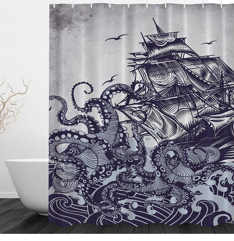 Octopus And Ship Shower Curtain Best Nice Custom Popular