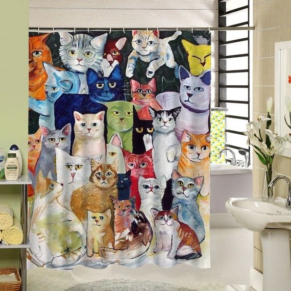 Cats Shower Curtain Waterproof Cat Shower Curtains