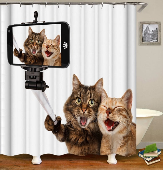 Cat Shower Curtain Funny Cats 3d Print Shower Curtains Waterproof Fabric