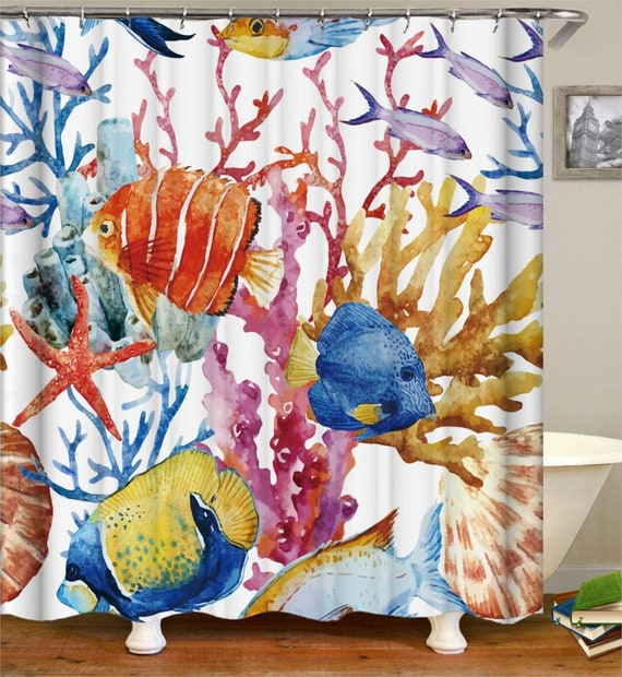 Fish Shower Curtain Waterproof Colorful Fabric Bathroom