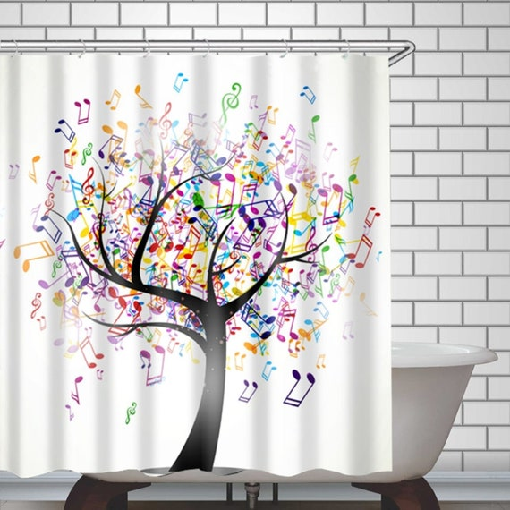 1 Pc Waterproof Music-Tree Shower Curtain for Home and Bathroom