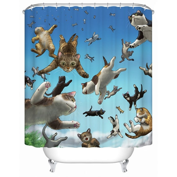Cats Shower Curtain Funny Cat Shower Curtains Custom Cartoon Pattern