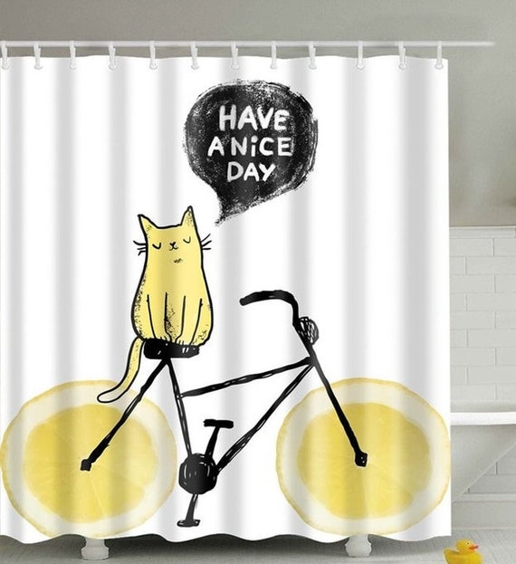 Cat Shower Curtain Funny Shower Curtains, Bicycle Cat Shower Curtain 72 x 72, Bathroom Decor, Waterproof Mildew Resistant Curtain