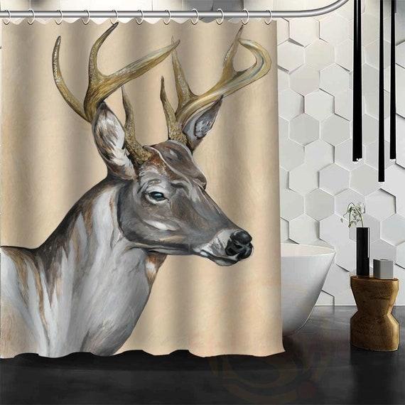 Deer Shower Curtain Waterproof Fabric Head