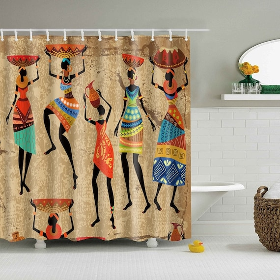 African Woman Shower Curtain Colorful Eco Friendly