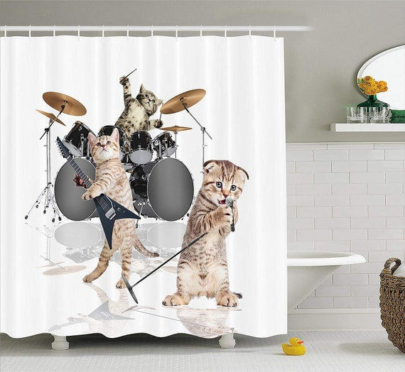 Cat Shower Curtain Cute Rocker Band of Kittens Cats Print Polyester Fabric Shower Curtains