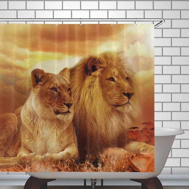 Lion Shower Curtain Lions Bath Decor Waterproof Polyester Fabric