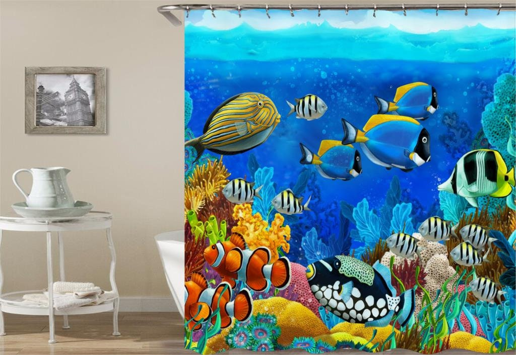 Sealife Shower Curtain Kids Sea Life Ocean Fish