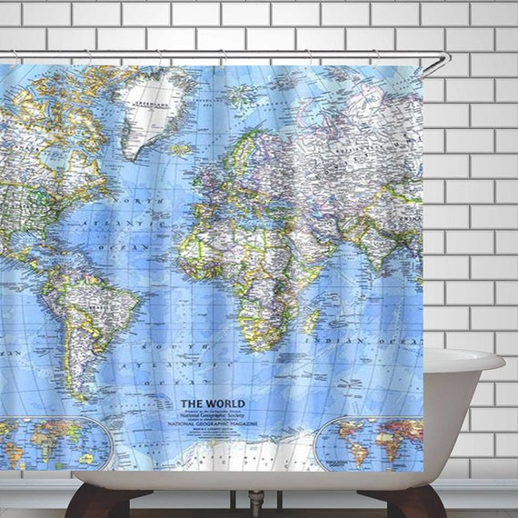 World Map Shower Curtain Fabric Shower Curtain Set For Bathroom