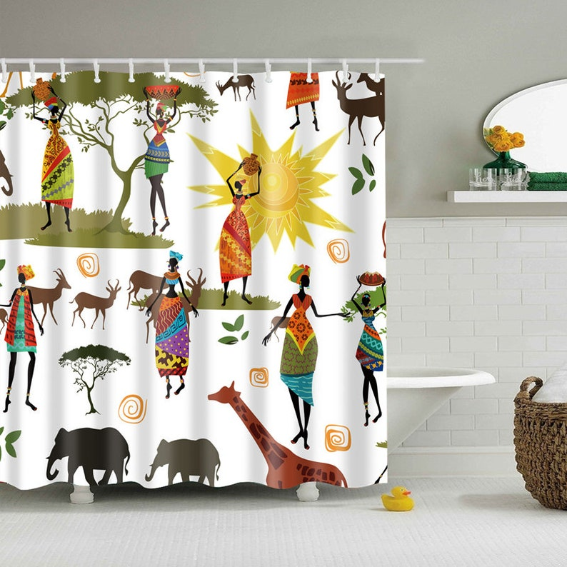 Africa Shower Curtain African Print Curtains Colorful