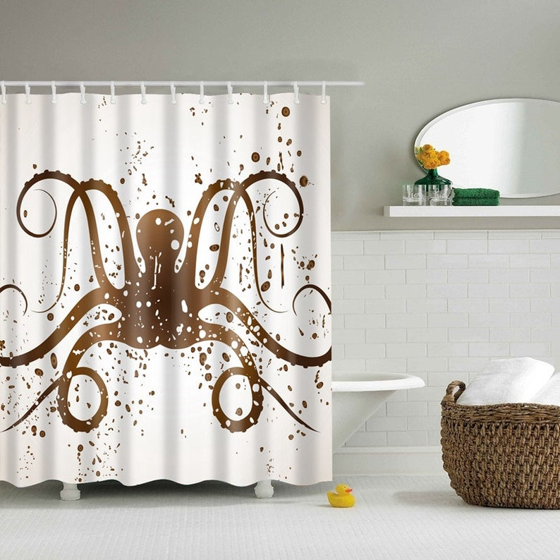 Octopus Shower Curtain Brown Tentacles