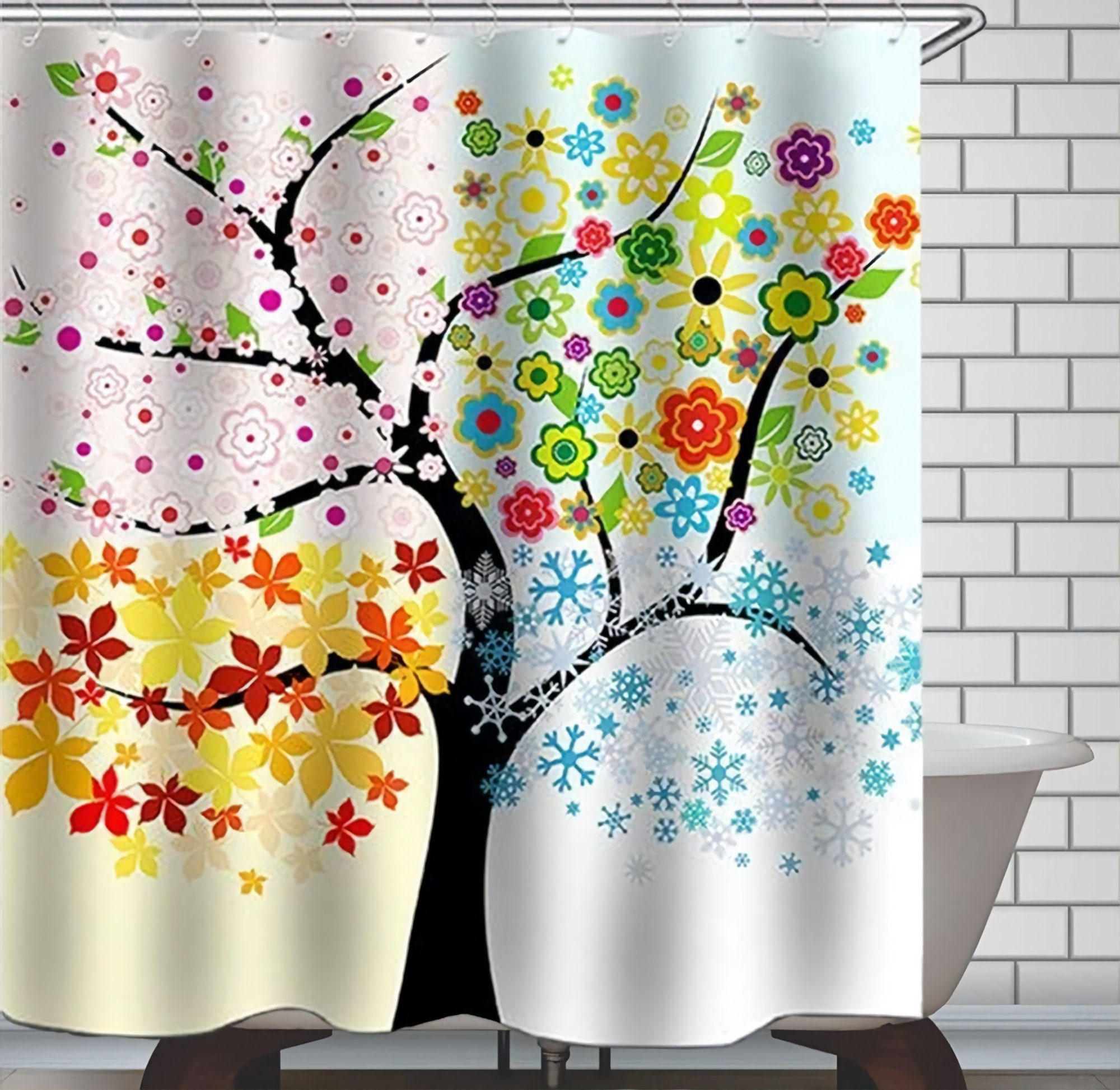 Tree Shower Curtain Four Seasons Tree Shower Curtains Waterproof Polyester Fabric