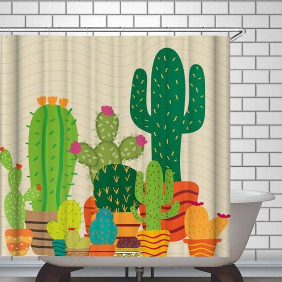 Shower Curtain Art Bathroom Decor Plants Cactus Design Green Curtains 12 Hooks