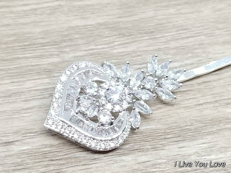 White Gold Art Deco Bridal Hair Pin-Silver Bridal Hair Accessories,Silver Wedding Hair Accessories,Silver Bridal Hair Pins,Bridal Hair Piece