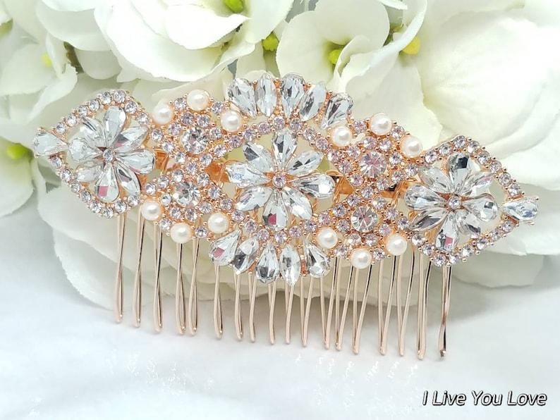Rose Gold Bridal Hair Comb-Rose Gold Bridal Hair Accessories,Wedding Hair Accessories,Bridal Hair Comb,Bridal Hair Piece,Wedding Hair Comb