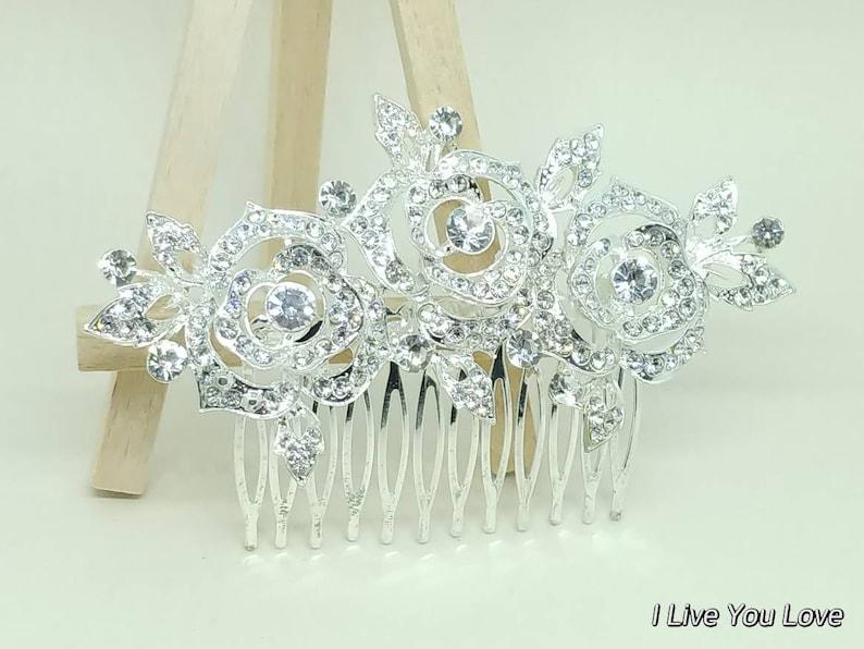 White Gold Bridal Hair Comb-Silver Bridal Hair Accessories,Silver Wedding Hair Accessories,Silver Bridal Hair Comb,Silver Bridal Hair Piece