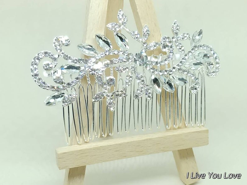 White Gold Bridal Hair Comb-Silver Bridal Hair Accessories,Wedding Hair Accessories,Bridal Hair Comb,Bridal Hair Piece,Wedding Hair Comb