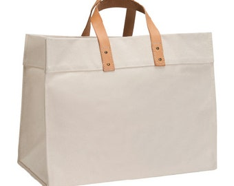16416c55d Travel Tote in Natural Canvas w  Leather Handles