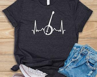 Banjo Heartbeat / Shirt / Tank Top / Hoodie / Banjo Player Tee / Funny Banjo T-Shirt / Banjo Gift Idea / Banjo Teacher Gift