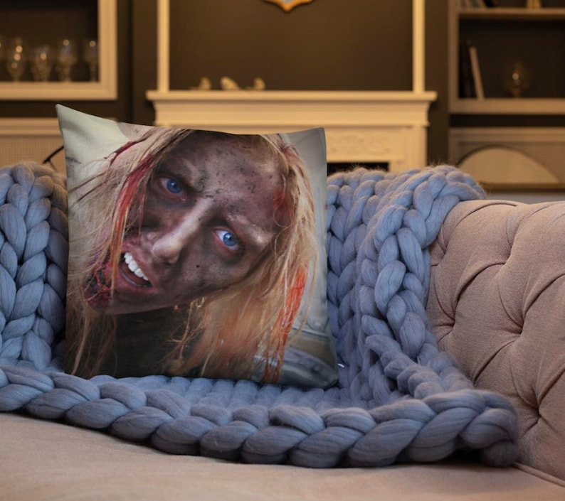Zombie Couple Reversible Accent Throw Pillow Gore Inspired image 0