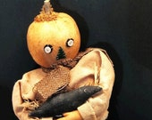 Primitive Pumpkin Seed Suited Man Cradling His Pet Crow, Plaid Pants and Scarf, Penny Rug Components