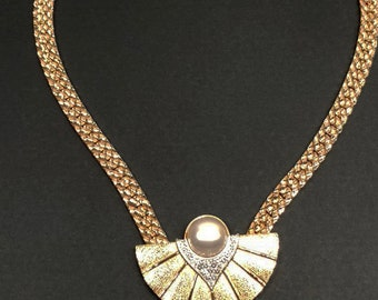 VTG 1970s Signed Parklane Gold Chain Faux Pearl Rhinestone Fan Necklace