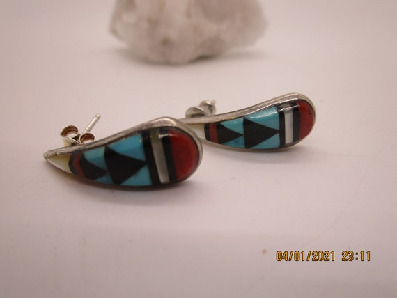 Zuni Oval Earrings Onyx Inlay Sterling Silver Signed