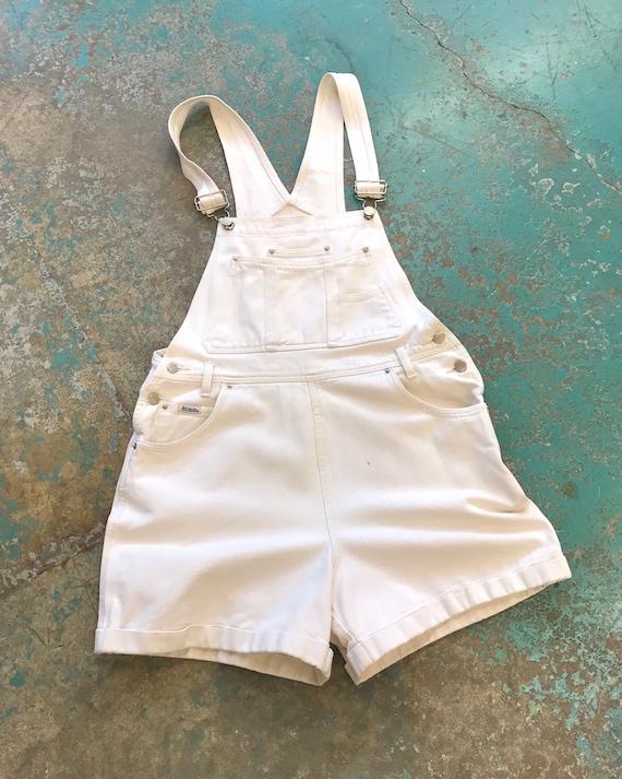 Vintage Off White Denim Overall Shorts - Attitude