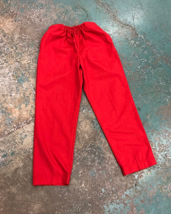 Vintage Elastic & Velcro Waist Stay-Creased Red Pa