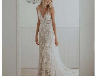 Deep V-Neck Backless Champagne lace bohemian BRIDAL wedding party wedding dress bridal gown
