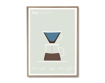 V60 Coffee Poster – Coffee print – Coffee art – Drinks print – Coffee gifts – Coffee lovers gifts – Kitchen poster