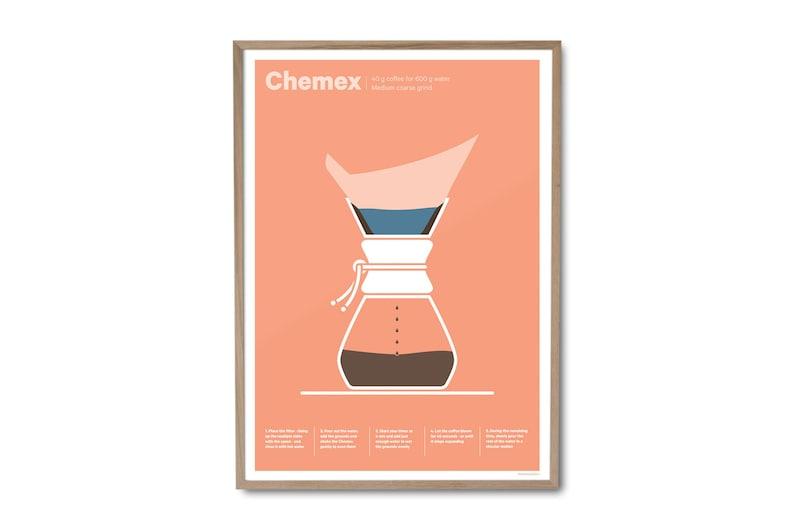 Chemex Coffee Poster  Coffee print  Coffee art  Drinks image 0
